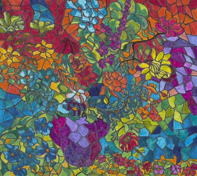 Tiffany Stained Glass Floral Composite